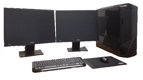 Cognitech Integrated Workstation Desktop with two monitors